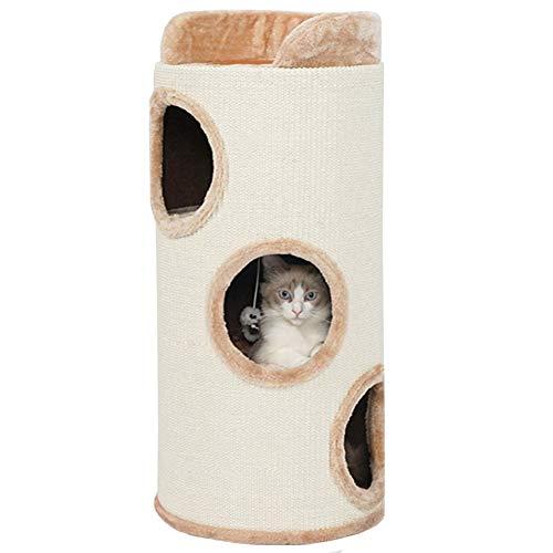 Lqdp Rascadores para Gatos Torre Alta de Gato Beige/Cueva de Gato para Gatitos Que Juegan, Se Relajan y Duermen, Centro de Actividades Cilíndrico para Mascotas con Sisal Resistente