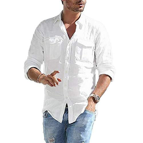 DNOQN Polo Shirt Männer Longsleeve Weiß Herren Baggy Baumwolle Leinen Tasche Solide Langarm Retro T Shirts Tops Bluse XL