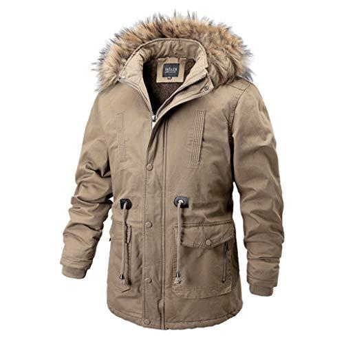 Feytuo Herren Mantel Warmer Outdoor Dick mit Kapuze Daunenjacke Baumwollanzug Einfarbig Mode Mantel Winter Angebote Mantel Freizeit Jacke Mode Mantel Sale Schwarz Elegant