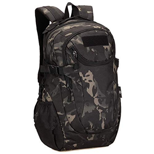 ZLJUN Military Tactical Backpack 25L Soft Waterproof Hiking Backpack for Travel Camping Trekking Hiking Mountaineering (Camouflage Black-25L)