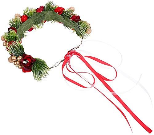 Corona del Fiore di Natale con Le Bacche di Pinecone Xmas Mini Corona di Berry Artificial Ghirlanda Bridal Wedding Women Women Flower Fascia (Rossa)