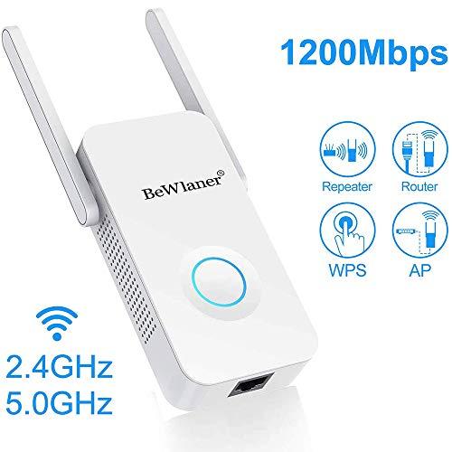 WLAN Repeater, 1200Mbit/s WLAN Verstärker 5GHz 867Mbit/s 2,4GHz 300Mbit/s WiFi Repeater mit LAN-Port und WPS Funktiom unterstützt AP/Repeater/Router/Client Modus kompatibel zu Allen WLAN Geräten