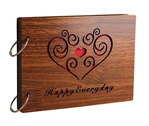 Fotoalben Scrapbook DIY Fotoalbum Bilderalbum Vintage Style Sticker Tagebuch aus Holz Geburtstaggeschenk 8 Zoll (happy everyday)