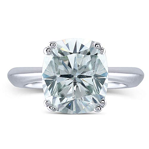 TransGems 2ct 7X8mm Elongated Cushion Cut 2.4mm Width 8 Prongs Lab Grown Moissanite Engagement Rings Platinum Plated Silver(8)