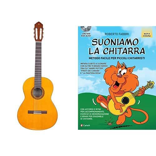 """YAMAHA CS40II Chitarra Classica 3/4, Chitarra in Legno (58 cm, scala da 22 13/16""""), 6 Corde in Nylon, Naturale & Edition Carisch Suoniamo la chitarra. Metodo facile, con CD-Audio"""