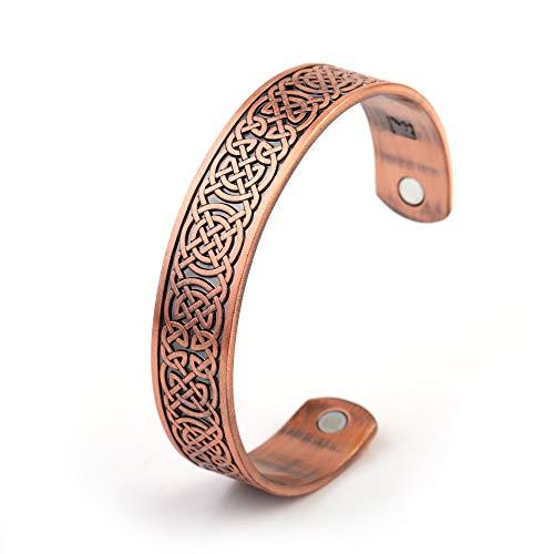 ZSML Magnetarmband Power Fitness Herren Manschette Armreif Gravierte Knoten Armreifen Ethnisches Armband Personalisierter Schmuck (Antik rotes Kupfer)
