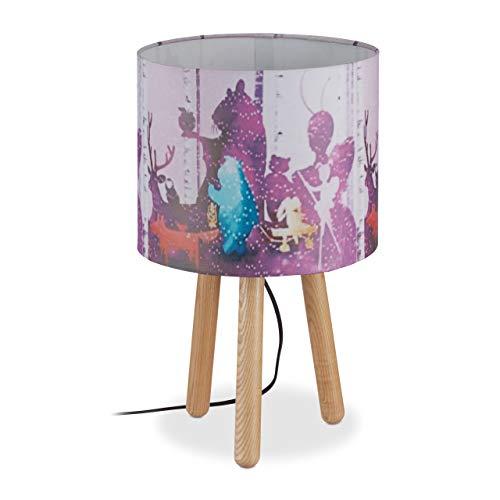 Relaxdays tafellamp kinderkamer, cilindrische scherm, 3 houten poten, kinderlamp dieren, bos, H x D: 41 x 25 cm, bont
