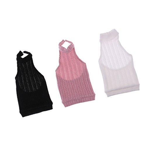 CUTICATE Packung Mit 3 Farben Fashion Doll Kleidung Stricken Rückenfreie Weste Für 1/3 BJD LUTS Dollfie Zubehör, Rollenspiel Puppenspielzeug