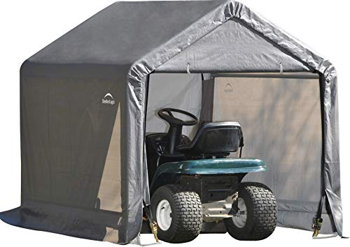ShelterLogic Shed-in-a-Box with Auger Anchors, Peak, Gray