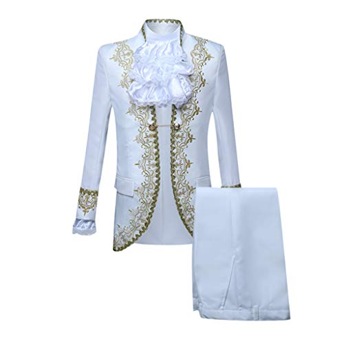 Sannysis Herren Gothic Anzüge 2 Teilig Frackjacke Blazer und Hose Parade Kostüm Jacquard Suits Mittelalter Party Karneval Steampunk Gehrock Offizier Mantel (M, Weiß)