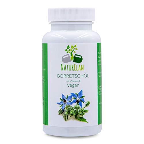 Las cápsulas de aceite de borraja veganas - 90 cápsulas que contienen 500 mg de aceite de borraja - que contienen ácidos grasos omega-6, vitamina E y ácido gamma-linolénico |