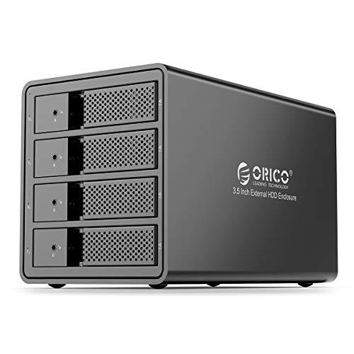 ORICO 4 Bay USB 3.0 to SATA Chia External Hard Drive Enclosure for 3.5 inch HDD Support 64TB (4 x 16TB) Aluminum Alloy RAID Enclosure Support RAID Mode Storage