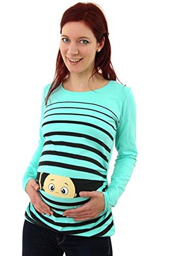 Vêtement de Maternité Humoristique T-Shirt Mignon à Motifs Cadeau pour Grossesse Femme Humour Tee Haut Vetement de Maternite à Manches Longues (Turquoise, Large)