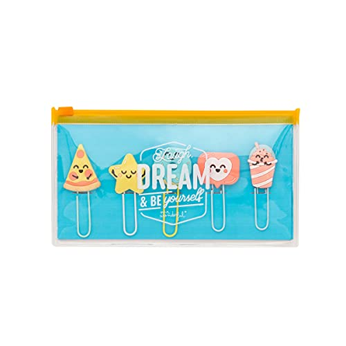 Pencil case with set of character clips - Laugh, dream & be yourself