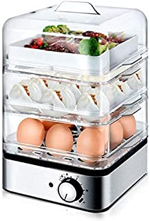 HAOT Cocedor de Huevos,Caldera de Huevo Transparente de 3 Capas 220 V Vaporera eléctrica para Alimentos Desayuno Olla de biberón Esterilizador Anti-Secado, 220 V