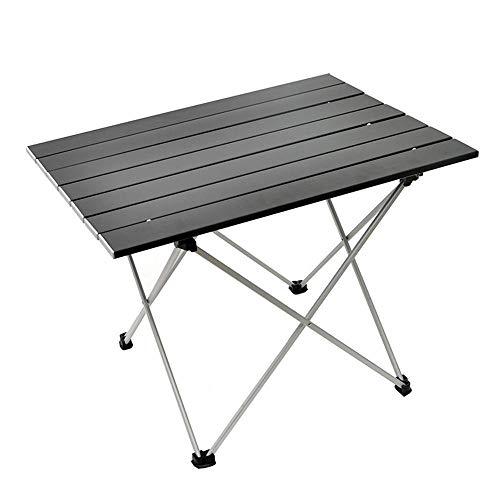 FIONAT Table de Camping Pliante en Aluminium, Table de Balcon Petit Léger avec Sac de Transport Table Pliable Camping pour la Plage, la Randonnée, Le Trekking, Le Camping, la Pêche - Black