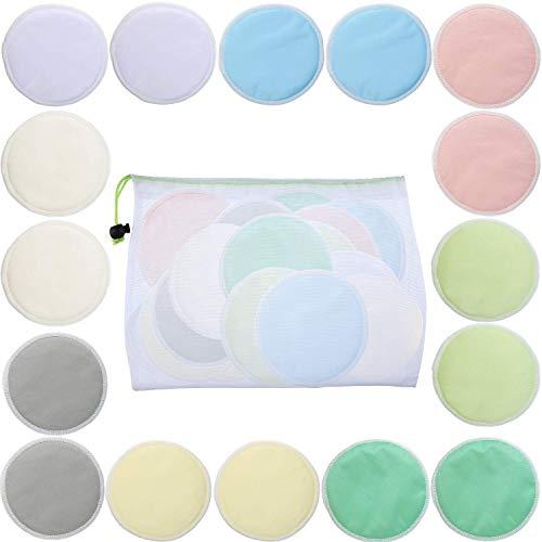 Lot de 16 tampons démaquillants en bambou avec sac en maille, couleurs assorties