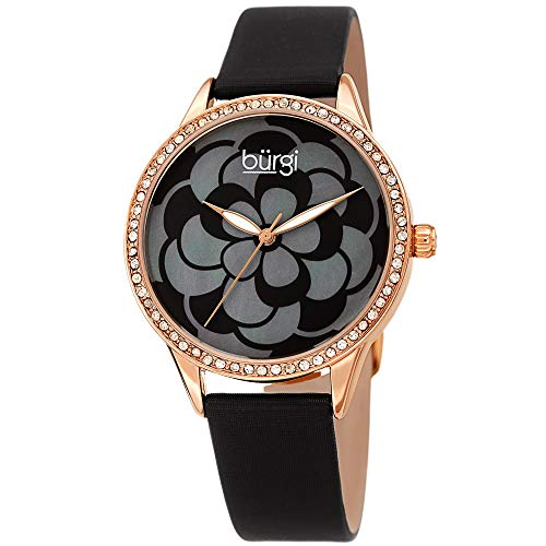 Burgi Women's Watch – Swarovski Crystal Accented Bezel, Beautiful Flower Pattern on Mother of Pearl Dial – Black Satin Leather Skinny Strap BUR203BKR
