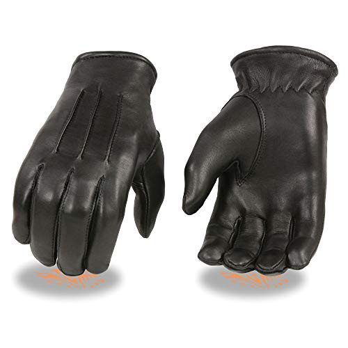 Milwaukee Leather SH865 Men's Black Welted Deerskin Thermal Lined Gloves - Large