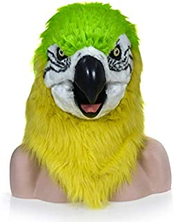 Masks Carnival Holiday Party mask Moving Green Parrot Imitation Animal mask Halloween and Party Accessories Furry Animal Masks ( Color : Green )