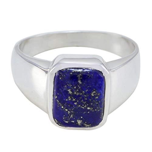 joyas plata schöner Edelstein in Achteckform ein Stein Cabochon Lapislazuli Ring - massiver silberner blauer Lapislazuli Ring - Oktobergeburt Waage Astrologie schöner Edelstein Ring