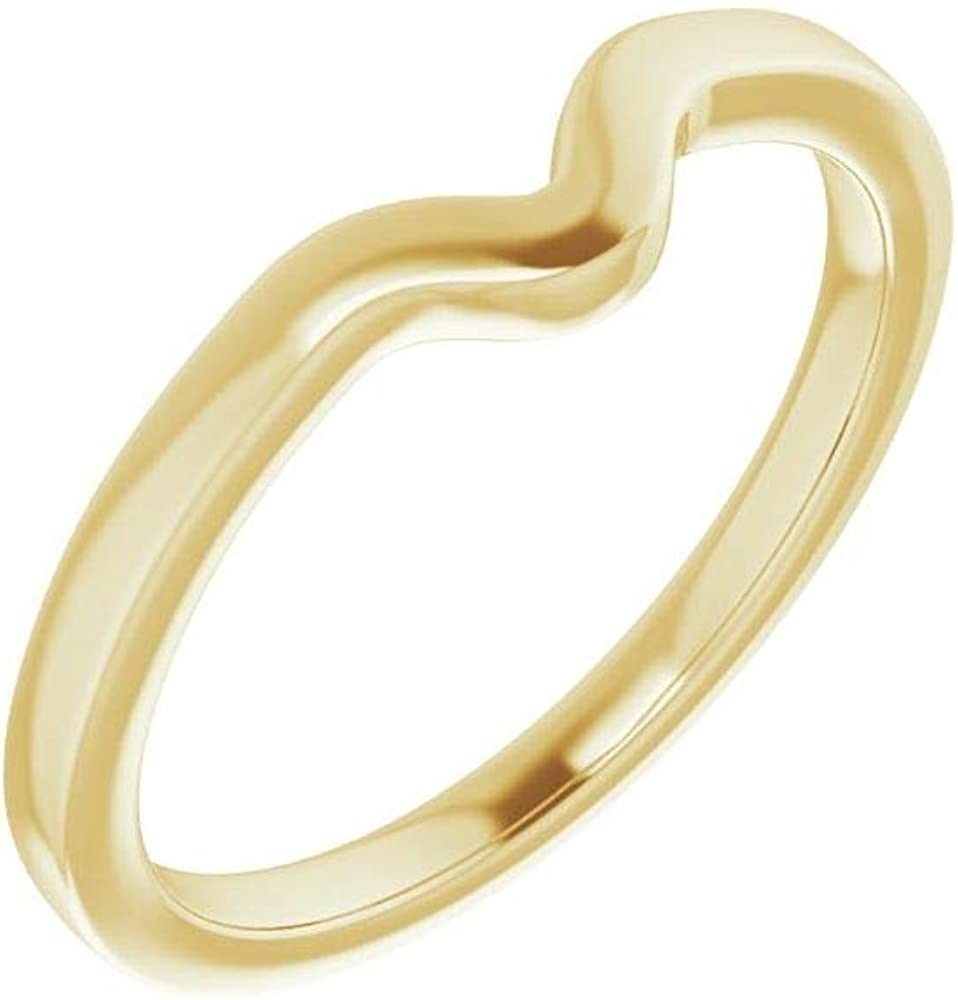 Solid 14K Yellow Gold Curved Notched Wedding Band for 8 x 6mm Pear Ring Guard Enhancer - Size 7
