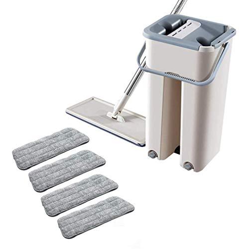 Do Not Apply - Mopa plana desechable, giratoria 360°, limpieza automática, escurridor de agua, microfibra, cubo de limpieza, juego de herramientas (con cuatro piezas de tela)
