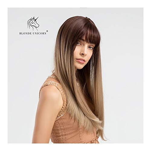 Sexy Lady volledige pruik met een pony 24 Inches Straight Lang Bruin Gradient Milk Tea Kleur haar pruik Natural Color synthetische pruik Daily Dress for Women