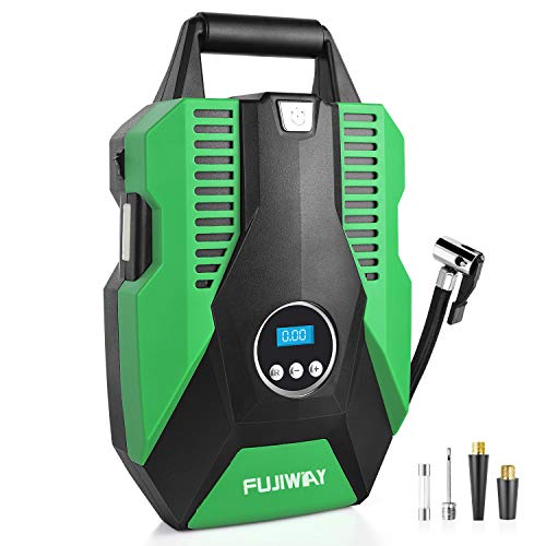 Portable Air Compressor Pump for Car Tires, Digital Tire Inflator, 150PSI DC 12V Tire Inflators, Auto Shut-off Air Tire Pump come with Emergency LED Light, Auto tire inflator for Cars, Bikes, Ballons