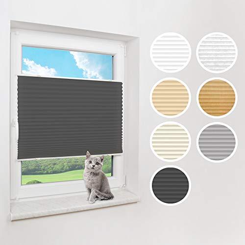 Victoria M. Praktica Plissee Faltrollo Plisseerollo, ohne Bohren, mit Klemmträgern für Fensterflügel 15-22 mm, Aluminiumschienen, aus Polyesterstoff, anthrazit, 45 x 150 cm