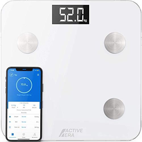ACTIVE ERA Körperfettwaage - Digitale Personenwaage mit App - Smart Bluetooth Waage für Körperanalyse - Körperfett, BMI, Gewicht (max. 180 kg), Muskelmasse, Wasser, Protein, Knochengewicht - Weiß