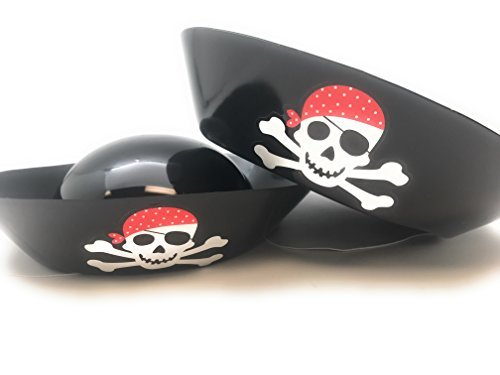 Oojami 24 piece Child Pirate Hats Black Soft Plastic Kids Pirate Themed Party Favors