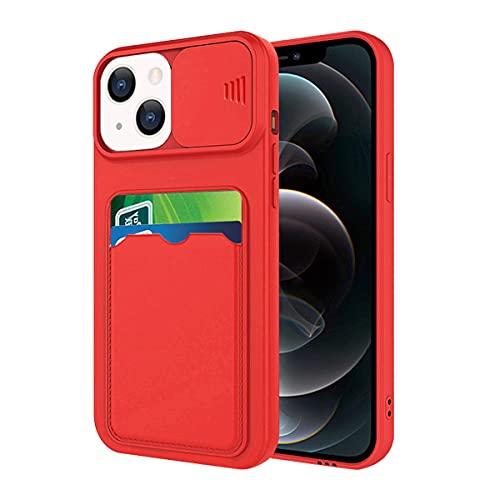 Funda para teléfono móvil compatible con iPhone 13 Mini, carcasa protectora con ranura, funda para iPhone 13 Mini, funda de silicona rosa (rojo, iPhone 13 Mini)