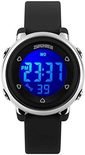 Kinder Digital Sport wasserdichte Uhr für Mädchen Jungen Kindersport Outdoor LED Elektrouhren Armbanduhren mit LED Hintergrundbeleuchtung für Kinder-Schwarz Well