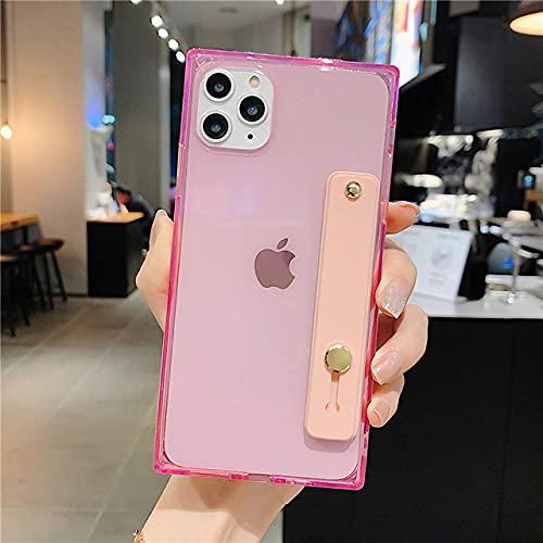 FYMIJJ Funda para teléfono para iPhone 11 Pro X XR XS MAX 6 6s 7 8 Plus SE 2 Diseño de Pulsera Cuadrada de Moda TPU Suave Transparente para iPhone 11, Rosa, para iPhone 8 Plus