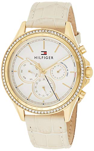 Tommy Hilfiger Damen Multi Zifferblatt Quarz Armbanduhr mit Lederarmband