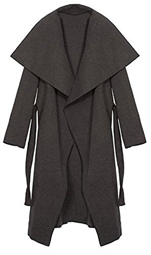 Kendindza Damen Mantel Trenchcoat mit Gürtel Lang Kurz dünner Stoffgürtel XS S M L (L, Grau Lang)