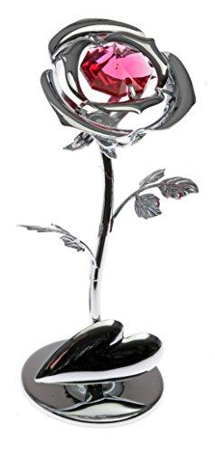 Crystocraft Rose Miniature - Couleur argentée Perles de Swarovski® - Cadeau Objet de décoration