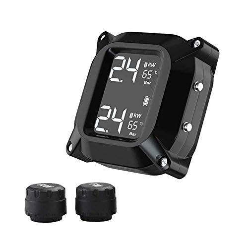 Hinmay TPMS Reifendrucküberwachungssystem, 24 Stunden Echtzeit-Reifendrucküberwachung für Motorräder mit Sensoren Farbanzeige für Zweiräder