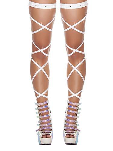 CHRONSTYLE Damen Overknees Elastische Halterlose Wickel Strümpfe Wrap Set Mit String Geöffnet Karneval Fasching Cosplay Strip (Weiß, OneSize)