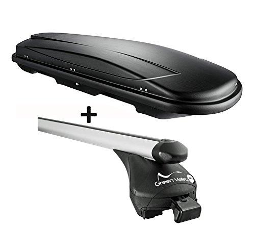 VDP Dachbox schwarz Juxt 400 Dachkoffer 400 Liter abschließbar + Alu-Relingträger Quick aufliegende Reling Alu kompatibel mit Audi Q3 ab 2011 bis