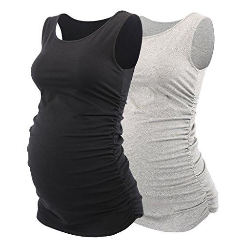 KUCI Still- top, Schwangerschafts- Shirt, Damen Basic Umstandstop Weste Side Ruched Scoop Neck Ärmellos Sommer- Umstandsshirt