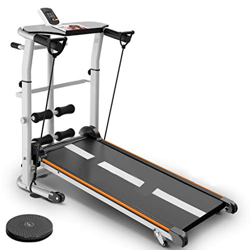 4-in-1 Mechanical Treadmill, with Mechanical Treadmill, Sit-ups Pannel, T-wisting Machine, Draw Rope Mechanical and Massage Wheel LED Display Folded Mechanical Treadmill, with Tablet Stand. (A)