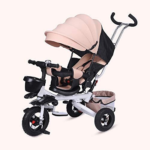 WOF 4-in-1-Kinderwagen/Kindertrike - Drehsitz, klappbarer, verstellbarer Sitz, 5-Punkt-Sicherheitsgurt, voller Baldachin, Ablagefach für Kinder im Alter von 6 Monaten bis 5 Jahren Baby-Dreirad