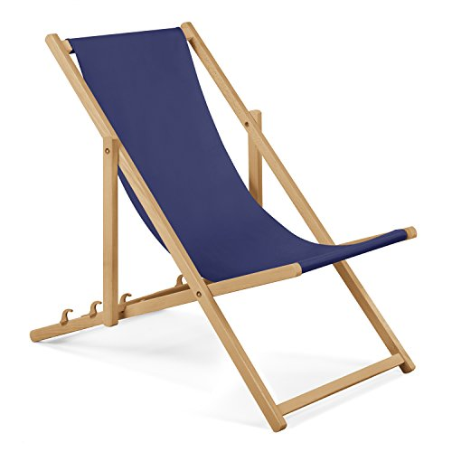 Chaise longue de jardin en bois - Fauteuil Relax - Chaise de plage bleu