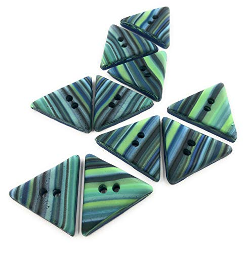 Efimoni 3 Stück, Knöpfe, 36mm, 2 Loch, blau, grün dreieckig, Art.Nr.: K00096