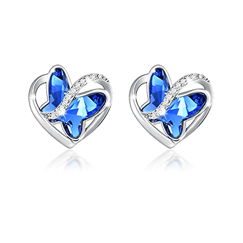 SNZM Pendientes de cristal de mariposa de plata esterlina para mujer, pendientes de plata azul con...
