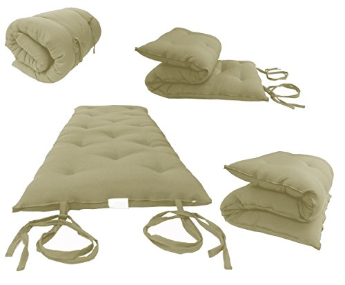 D&D Futon Furniture Tan Full Size Traditional Japanese Floor Futon Mattresses, Foldable Cushion Mats, Yoga, Meditation 54 W X 80 L