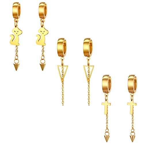 Cupimatch Damesoorbellen zonder gaatjes, nep-oorbellen, roestvrij staal, met hanger, anti-piercing-oorklemmen met 3 kleuren, zilver/goud/zwart