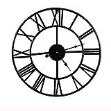 Mengshen Reloj De Pared con Números Romanos Gigantes - 15.7 Pulgadas, Negro